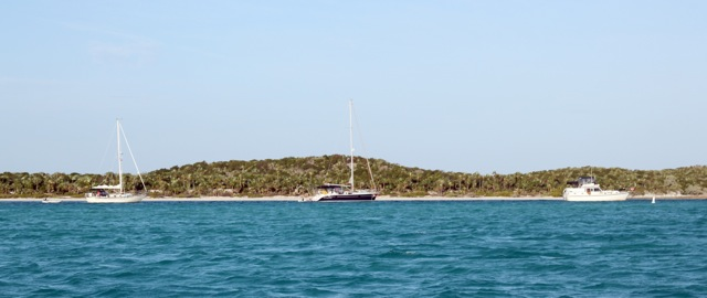 """Cookie"", ""Good Morning Vietnam"", and ""Miss A"" moored at Hog Cay"