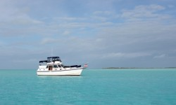 """Miss Adventure"" anchored off Pipe Cay"