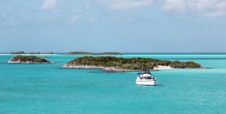 Our anchorage off Sampson Cay