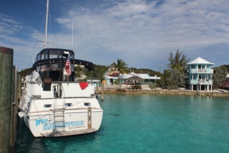 """Miss Adventure"" docked at Staniel Cay"