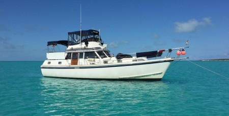 """Miss Adventure"" anchored west of Pipe Cay"