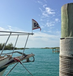 Flying our Staniel Cay Yacht Club burgee at Spanish Wells