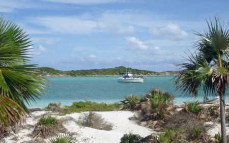 """Miss Adventure"" moored at Hog Cay"