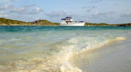 "One more look at ""Miss A"" moored at Hog Cay"