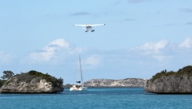 A seaplane takes off at Staniel