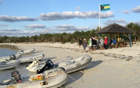 Beach party at Warderick Wells