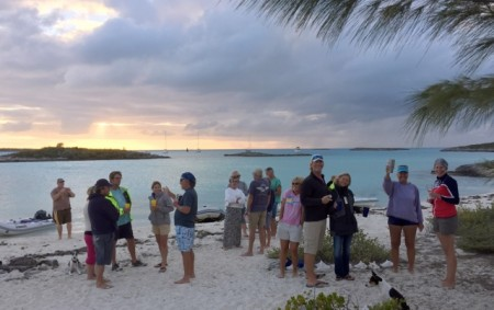 Beach party at Pipe Cay