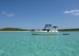 """Miss Adventure"" at Rudder Cut Cay"