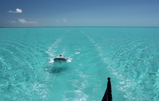 Motoring back towards Staniel Cay