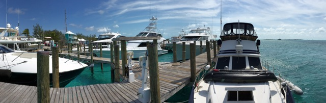 """Miss Adventure"" on the dock at Staniel Cay Yacht Club"