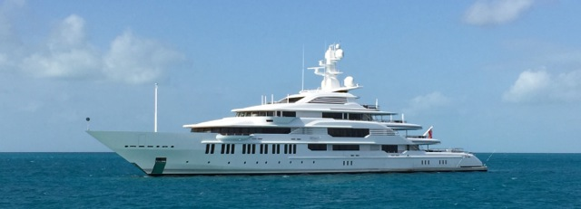 "The 290-foot yacht ""Infinity"" anchored off Big Majors"