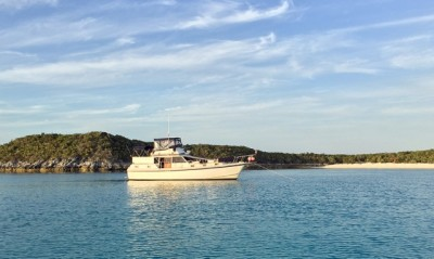 """Miss Adventure"" anchored at Little Halls Pond"