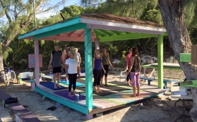 Wednesday morning yoga on Staniel Cay
