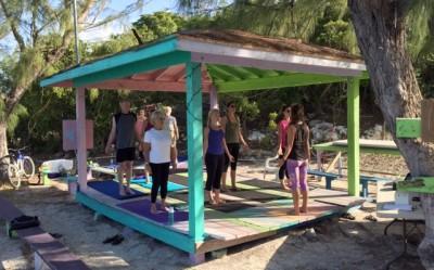 Wednesday morning yoga on Staniel Cay