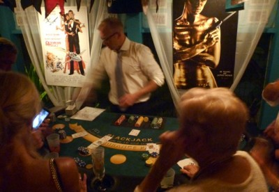 Our favorite client, Chris, running a blackjack table