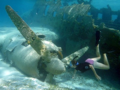 The famous Norman's Cay C-46 plane wreck