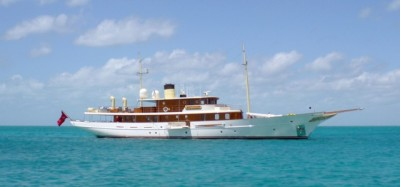 "On the way to ""Egg Cay"" we passed the yacht belonging to J K Rowling"