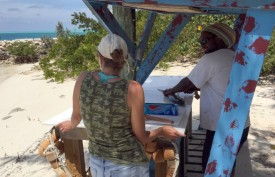 "Cleaning the Mahi on ""a private island in the Exumas"""
