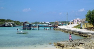 The shallow harbor at Little Farmer's Cay
