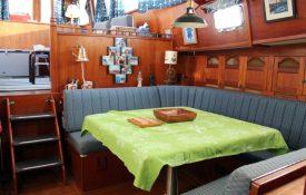 The port-side dinette