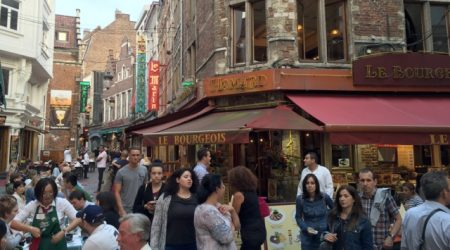 Evening in the Brussels dining district