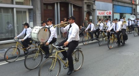 "Only in Europe; a bike-riding ""marching"" band"