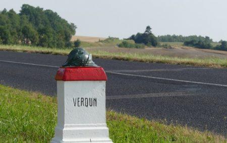 """A marker on the """"Voi Sacrée"""" between Bar-le-Duc and Verdun"""