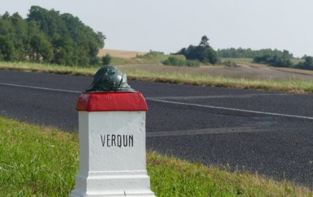 "A marker on the ""Voi Sacrée"" between Bar-le-Duc and Verdun"