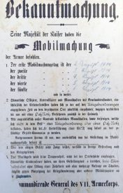 The German mobilization order from WW I