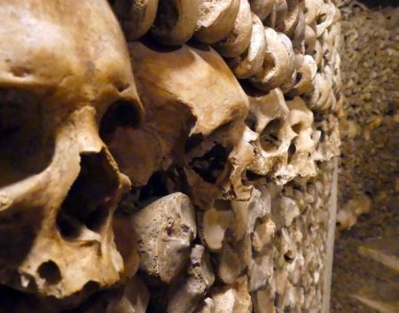 One of numerous walls of bones