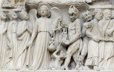 "Frieze at Notre Dame; ""sinners, this way"""