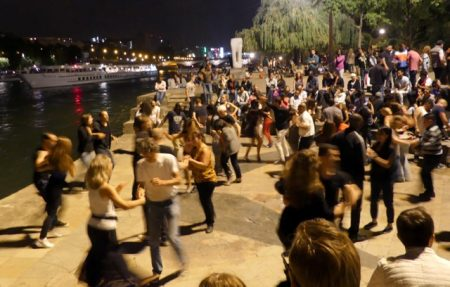 Dance party on the banks of the Seine