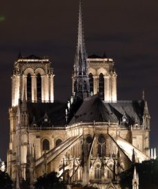Notre Dame towers at night