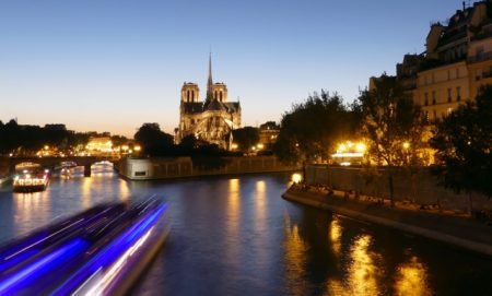 Seine River and Notre Dame at dusk