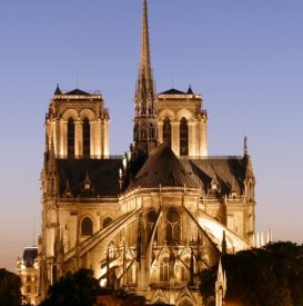 Notre Dame towers at twilight