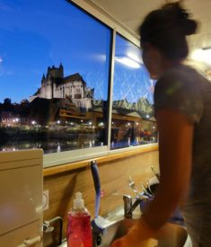 "Heather's ""galley view"" in Auxerre"