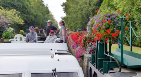 Leaving a lock on the Nantes-Brest Canal