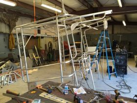 Our aluminum frame under construction